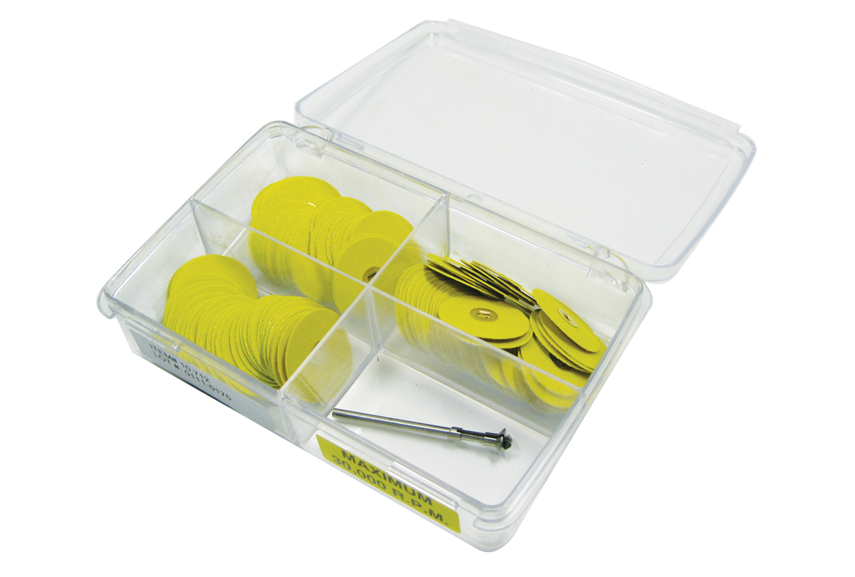 Yellow Sanding Disc Assortment, Aluminum Oxide, Brass Center-0