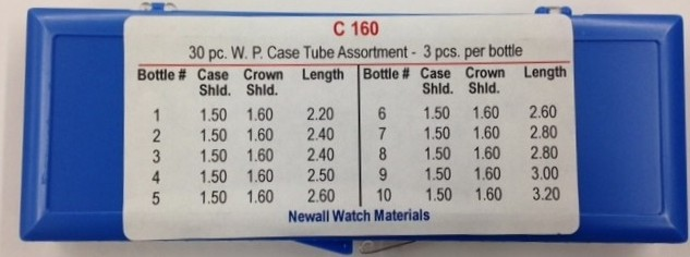 Newall Waterproof Case Tube Assortment, 30 pieces, 1.60mm