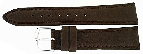 Hadley Roma 18mm Long Brown Padded Calf Leather Watch Strap