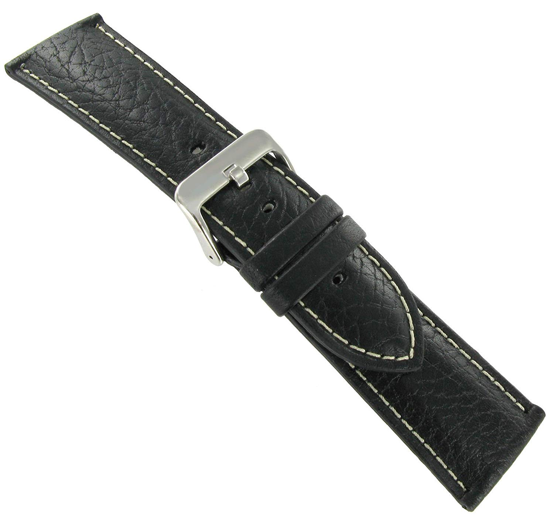Hadley Roma 24mm Buffalo Chrono Black Leather Strap