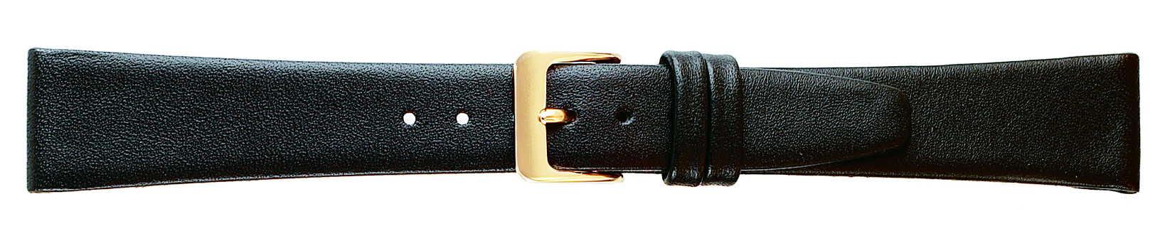 18MM Leather Band Black Smooth Calf Short-0