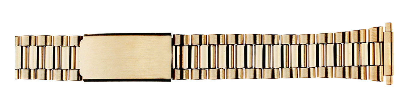 Watch Band Gold Tone Classic Style w/ends to fit 16-21mm-0
