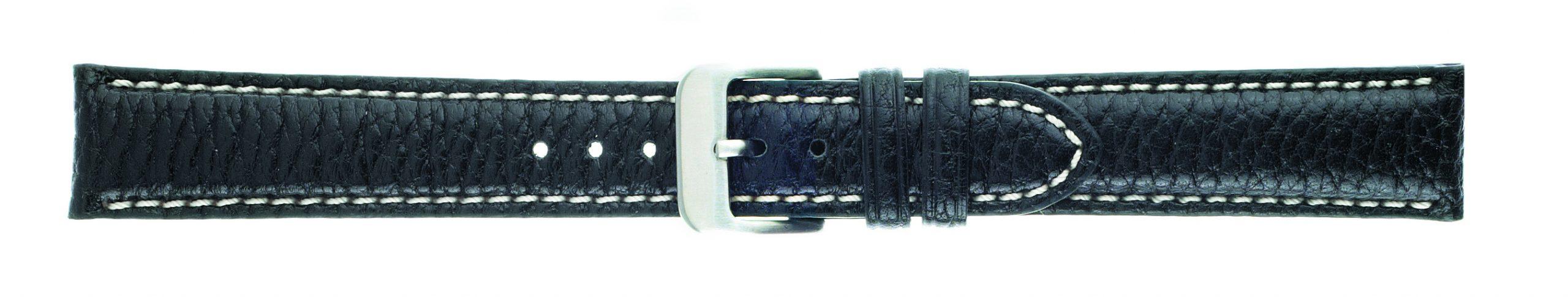 18mm Buffalo Chrono Black Leather Strap-0