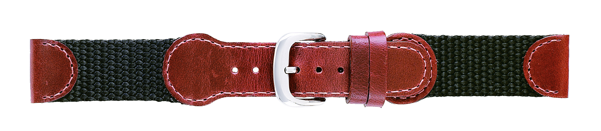19mm Swiss Army Style Brown Leather & Nylon Strap-0