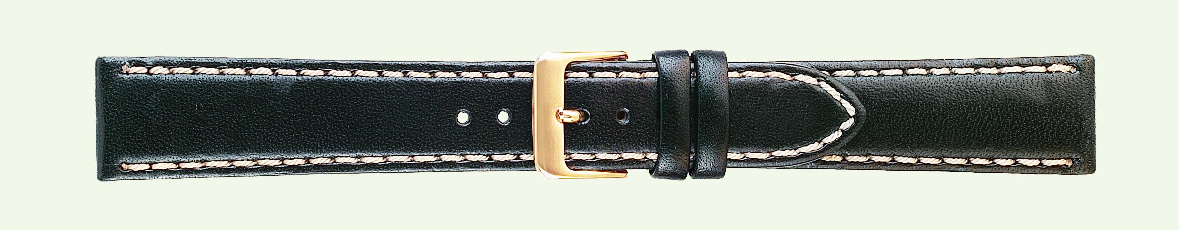 20MM Saddle Stitched Black Leather Band-0