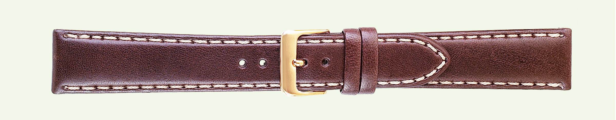 18MM Saddle Stitched Brown Leather Band-0