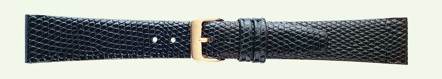 14MM Lizard Grain Black Leather Strap-0