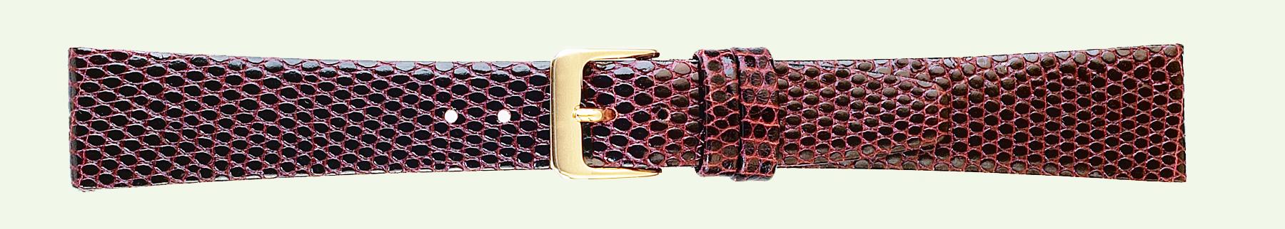 14MM Lizard Grain Brown Leather Strap-0