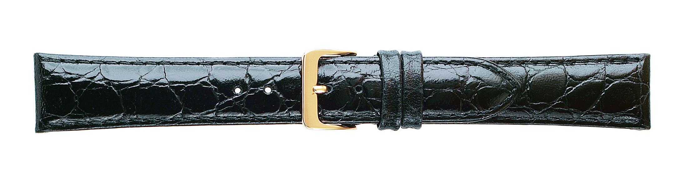 16MM Croco Grain Black Leather Strap-0