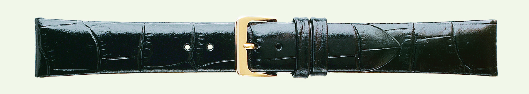22MM Alligator Grain Black Leather Strap-0