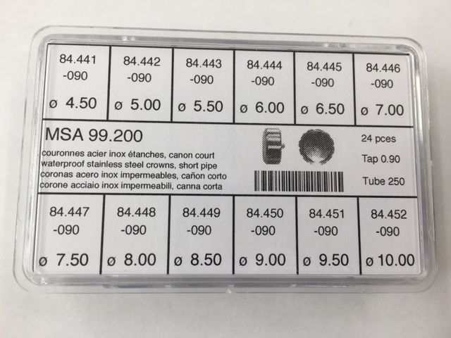 Waterproof Crown Assortment Stainless 4.50mm-10.00mm x 2.50 Tube x 0.90 Tap-0