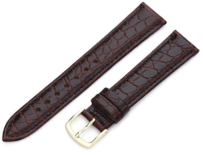 Hadley Roma 20mm Brown Stitched Croco Grain Leather Watch Strap