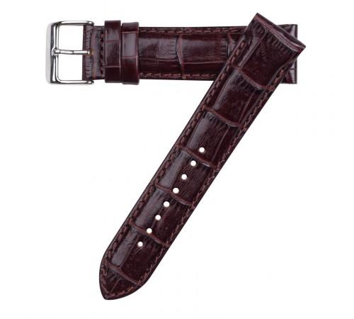 Hadley Roma 20mm Dark Brown Italian Calf Skin Leather Alligator Grain Watch Strap