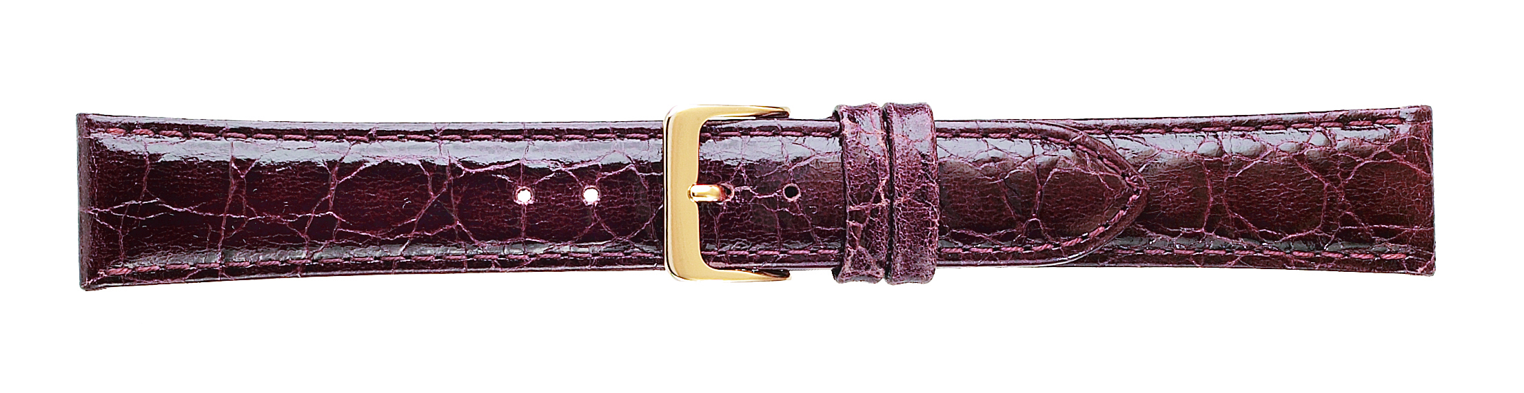 14 MM Croco Grain Brown Leather Strap -0