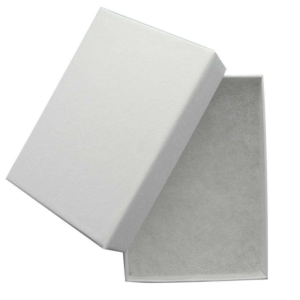 White Swirl Cotton Filled Jewelry Box - 3 1/16
