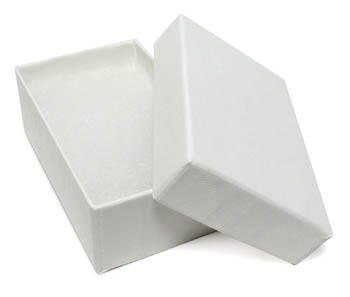 White Swirl Cotton Filled Jewelry Box - 3 5/8