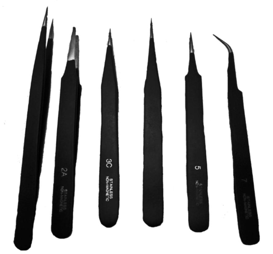 6 pc Black Epoxy Tweezer Set-0