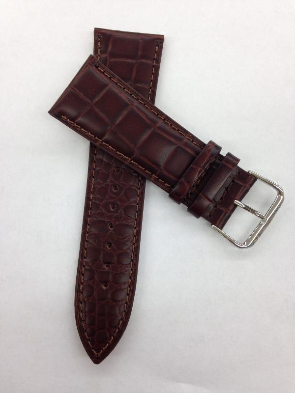 22mm Brown Croco Grain Leather Band