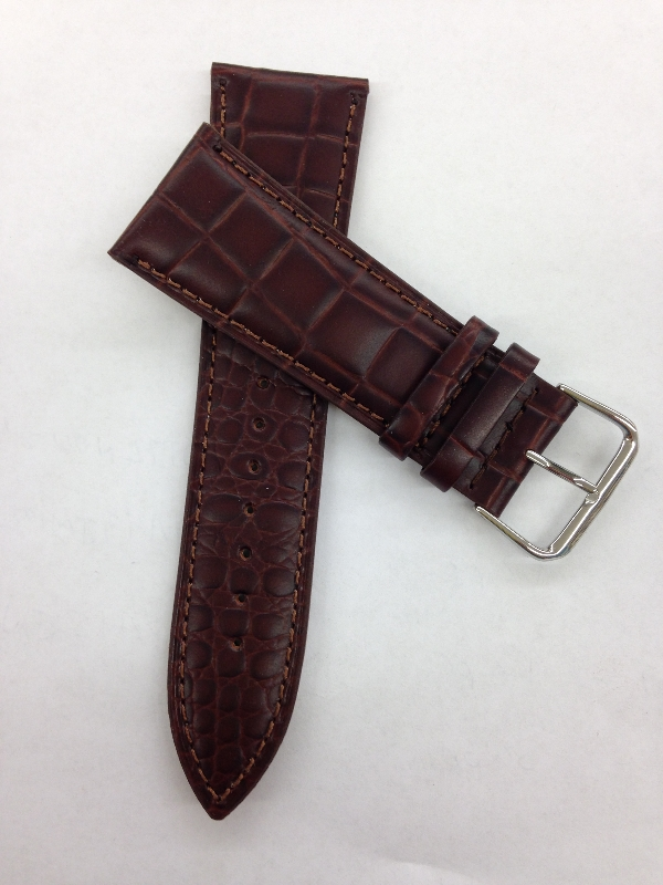 30mm Brown Croco Grain Leather Band