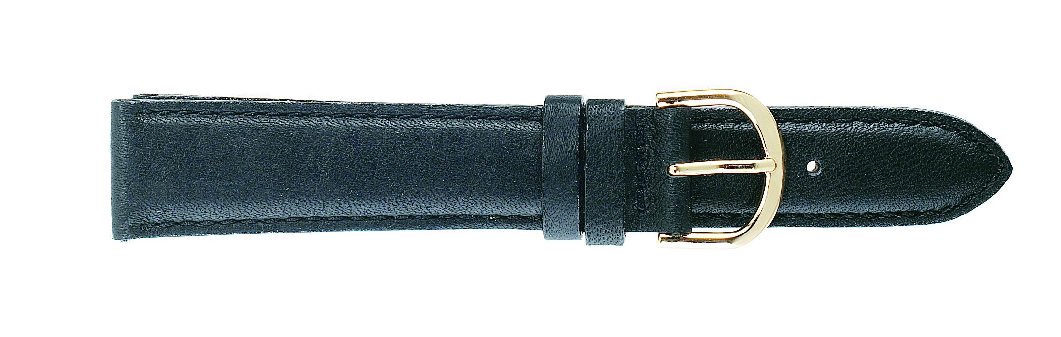 24mm Padded Calf Black Strap Long -0