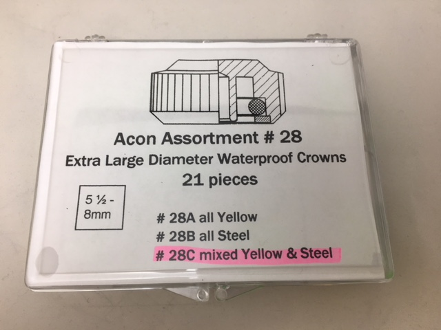 5.50-8.00mm Waterproof Crown Assortment, White & Yellow, 21 pieces