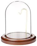 Glass Watch Dome with Walnut Base & Brass Wire - 3