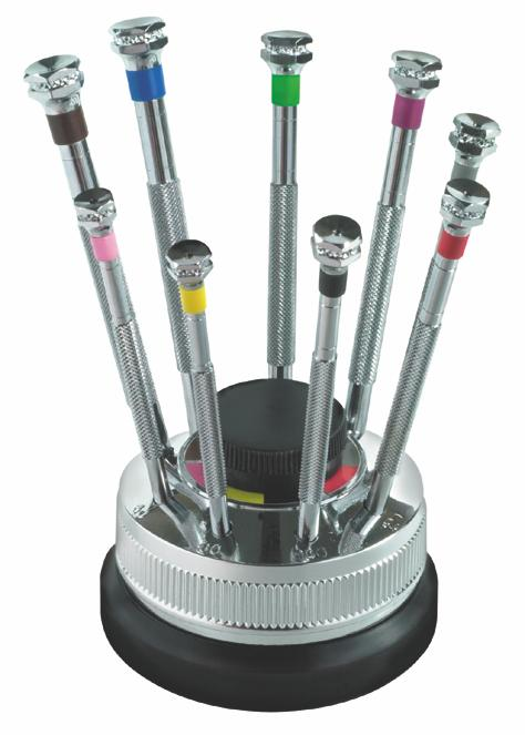 Horotec 9 piece Screwdriver Set on Rotating Stand
