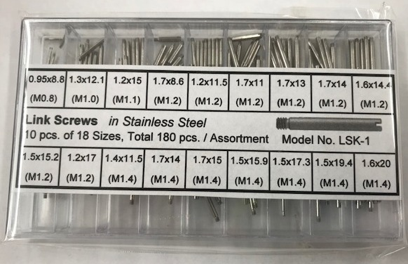 Stainless Steel Link Screw Assortment, 180 Pieces