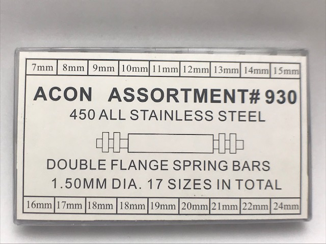 Double Flange 1.5mm Stainless Steel Spring Bar Assortment
