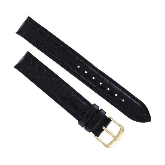 Hadley Roma MS717, 20mm Black Stitched Croco Grain Leather Watch Strap