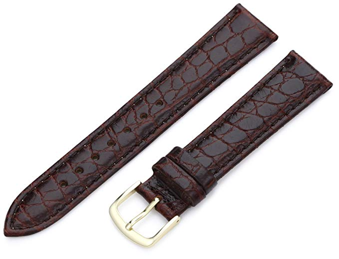 Hadley Roma MS717, 20mm Brown Stitched Croco Grain Leather Watch Strap