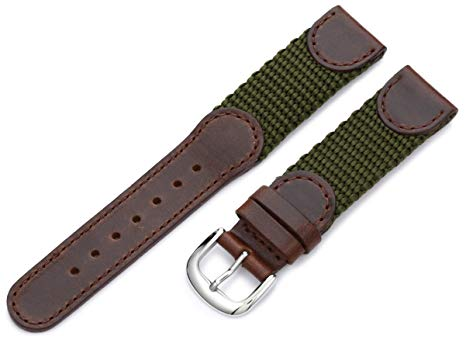 18mm Hadley Roma Olive and Brown Leather Swiss Army® Style Watch Band