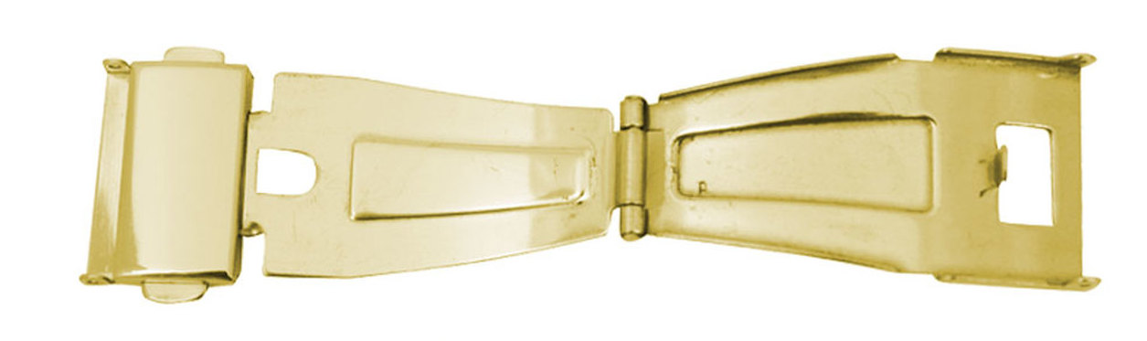Watch Band Clasp Gold Plated Single Fold With Push Button-4589