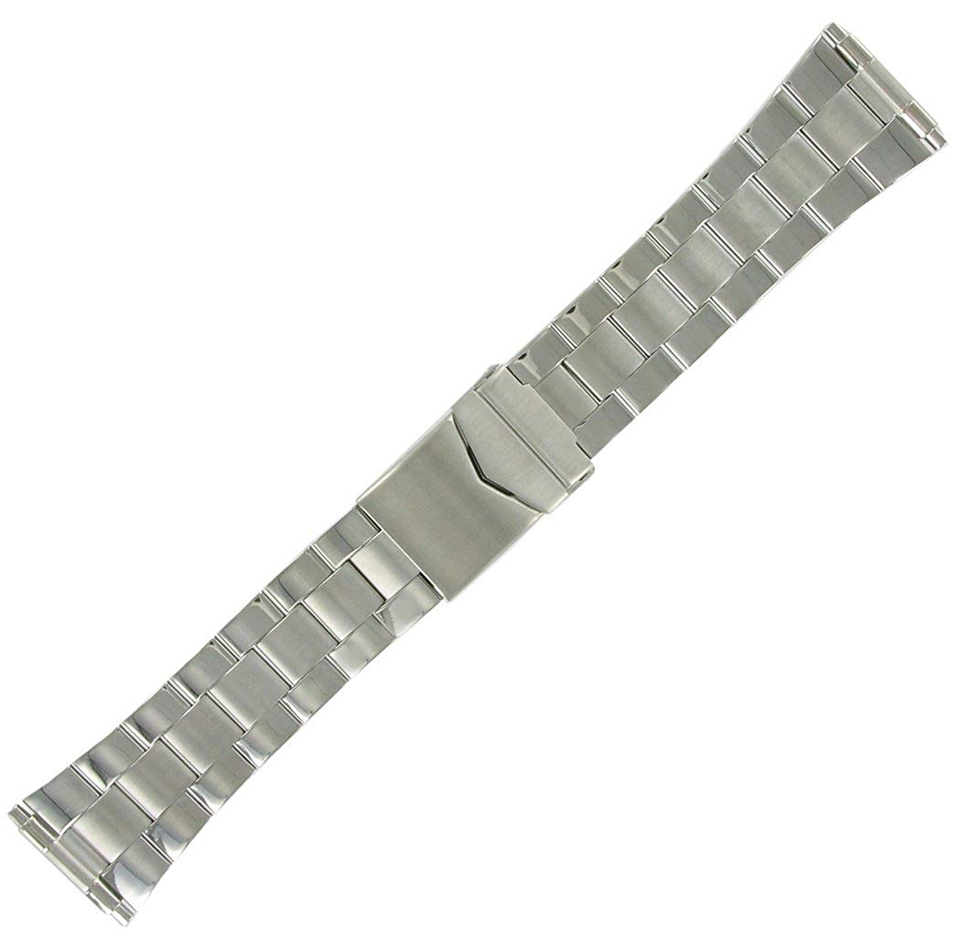 Hadley Roma Wide Link Stainless Steel Watch Bracelet, 20-26mm Adjustable Ends