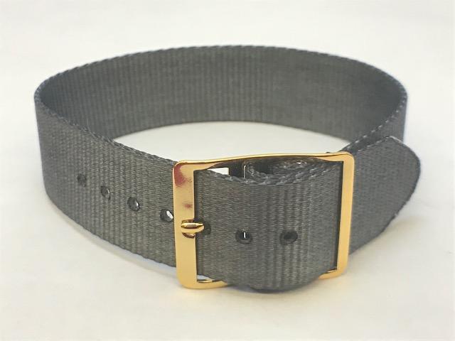 18mm Nylon One Piece Watch Strap Gray w/Gold Buckle