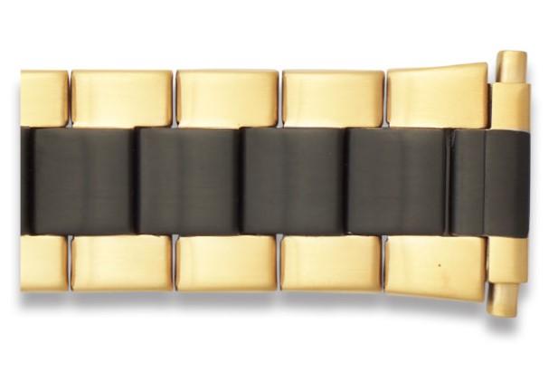 Hadley Roma Men's Wide Link Two Tone Gold/Black Watch Bracelet, Fits 22-26mm ends